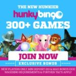 Hunky Bingo Casino | 100 free spins and 700% free bonus code