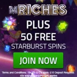 mRiches Casino - 50 gratis spins and 350% free bonus - bet for fee!