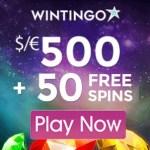 Wintingo Casino 500% bonus up to $/€500 and 50 extra free spins