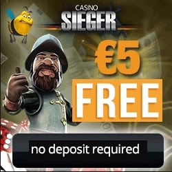 Casino Sieger | €5 free spins (no deposit) + 150% up to €400 bonus