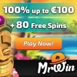 Mr Win Casino €100 gratis & 80 free spins – no deposit bonus