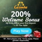 CASIMBA 50 free spins + 200% up to €5,000 welcome bonus