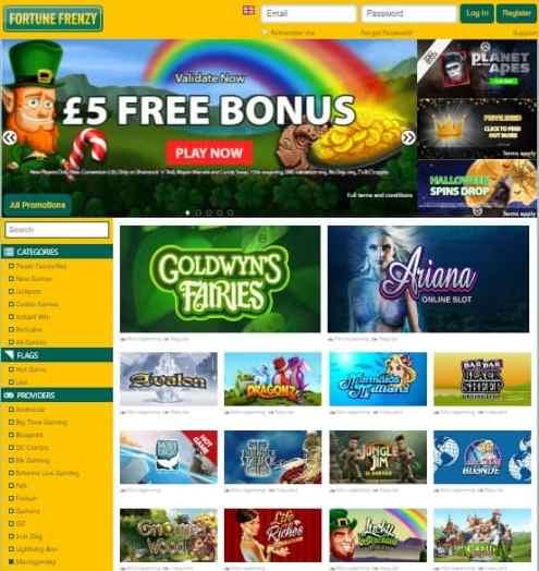 Fortune Frenzy 5 Pounds free bonus on registration