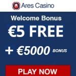 Ares Casino €5 free spins + 1100% up to €5000 bonus   Australia OK.