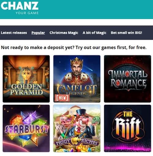 Chanz.com Online Casino Review