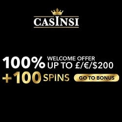 CASINSI online casino - 100% bonus + €200 gratis + 100 free spins