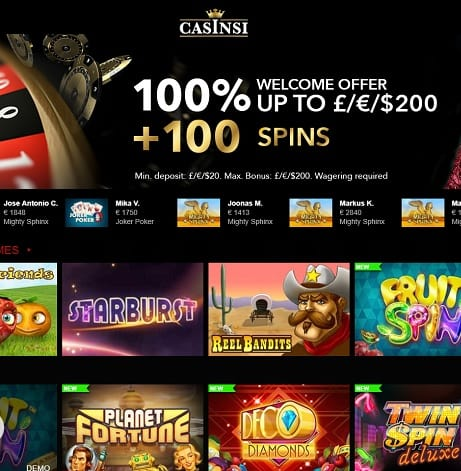 Casinsi.com free spins bonus