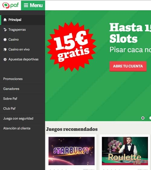 Paf.es Casino gratis spins and free bonus for Spain