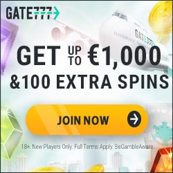 Gate 777 Casino [Gate777.com] 100 gratis spins + €1,000 bonus money