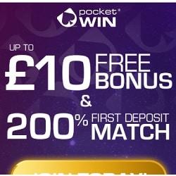 PocketWin Mobile Casino - £10 free bonus no deposit needed