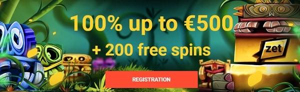 Zet Casino 100% bonus & 200 free spins