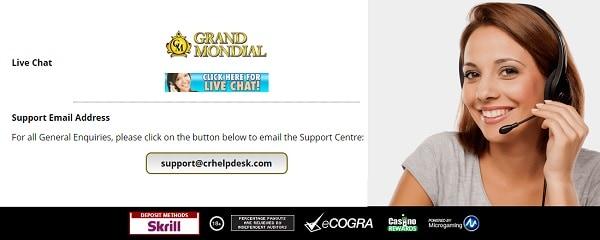 Grand Mondial Casino Live Support