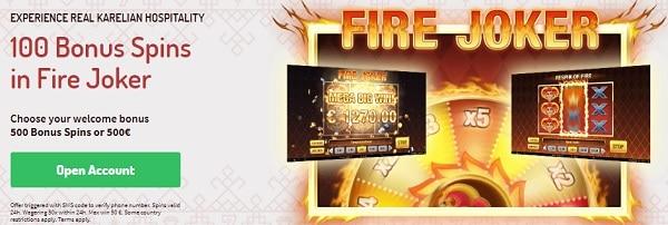 Karjala Kasino 100 free spins in Fire Joker no deposit required