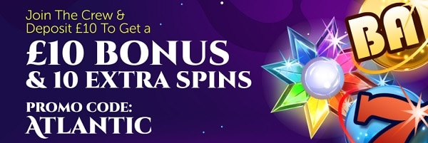 Atlantic Spins Casino 10 free spins and 10 GBP welcome bonus