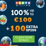 Slots Million Casino 100 gratis spins and 100% free bonus