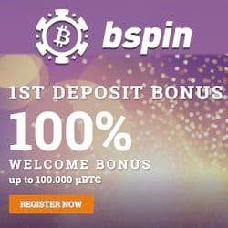 Bspin Casino 20 free spins + 100% up to 1 BTC welcome bonus