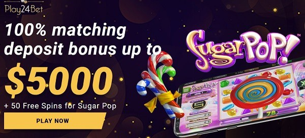 100% up to $5000 and 50 free spins in welcome bonus at Play 24 Bet Casino