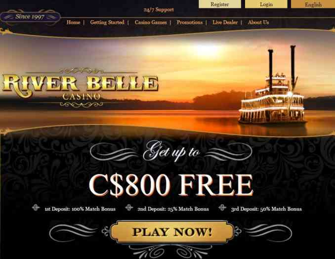 River Belle Online Casino $800 free bonus and 25 free spins