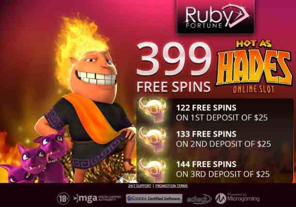 Ruby Fortune free spins bonus - Microgaming Casino