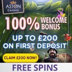 Aston Casino | £200 bonus and free spins | slots games & live dealer