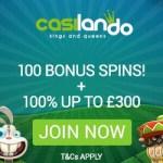 Casilando Casino 10 gratis spins   100% up to €300   90 free spins