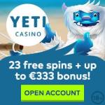 Yeti Casino 23 free spins NDB   100% up to €333 bonus   77 gratis spins