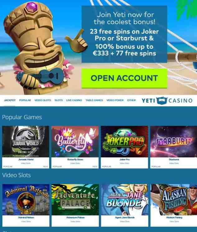 YetiCasino Review: free spins bonus