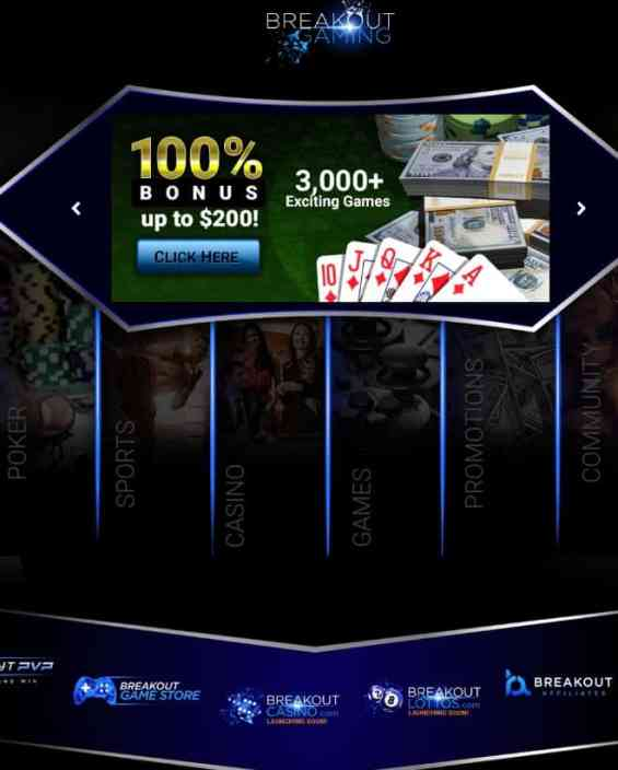 Breakout Gaming Casino, Poker, Sportsbook, Live Dealer