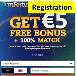 mFortune Casino £5 no deposit bonus on registration - UK mobile slots
