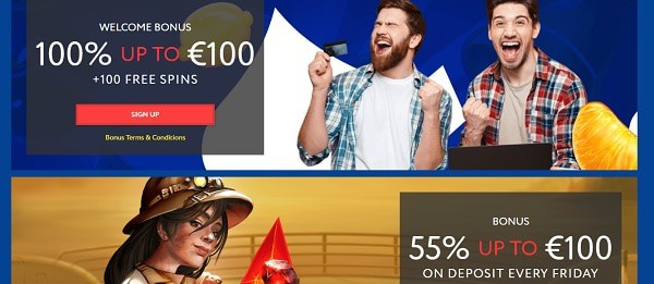EUSlot Casino 100% welcome bonus + 100 free spins