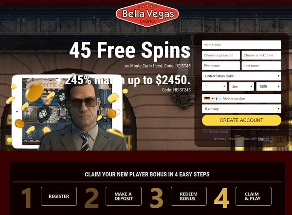 Register and play at Bella Vegas Online Casino!