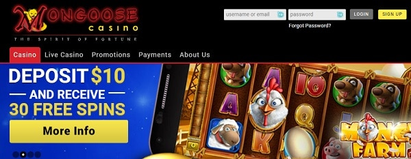 Buy $10 and get 30 free spins