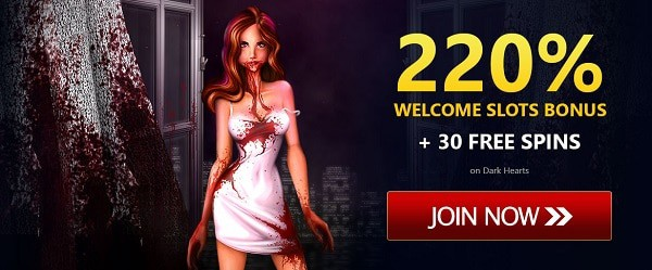 220% reload bonus and 30 free spins