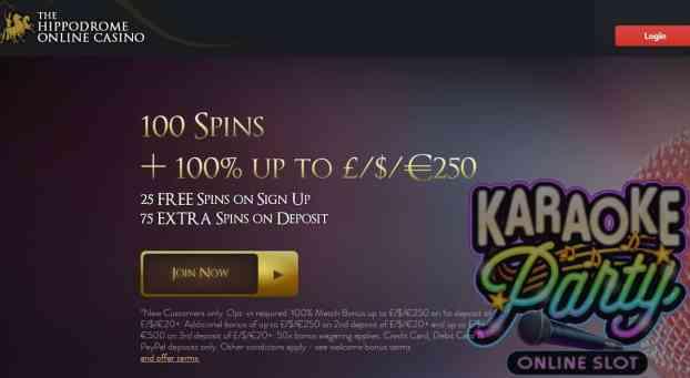 Hippodrome Casino 100 free spins bonus
