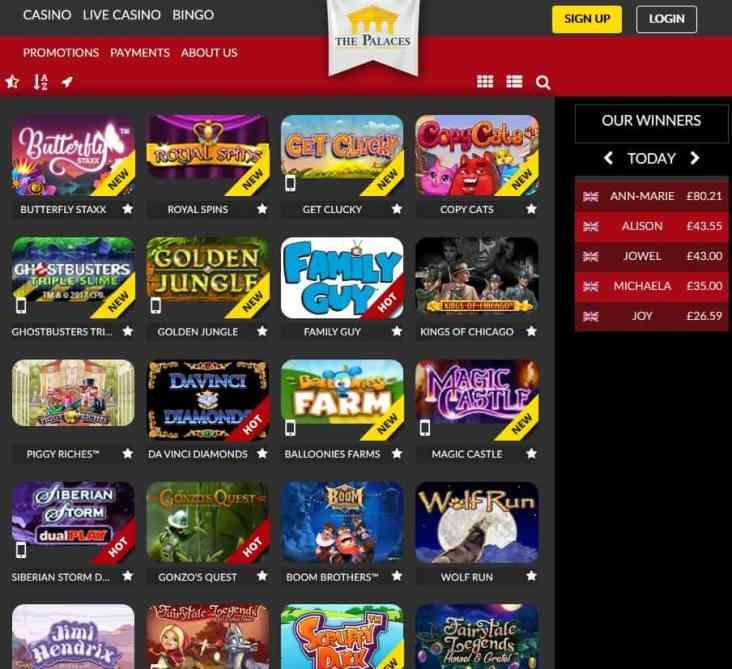 ThePalaces.com Casino, Bingo, Live Dealer