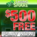 Casino Share – $500 free bonus and 100 exclusive free spins