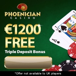 Phoenician Casino 100 free spins   100% up to $1200 free bonus