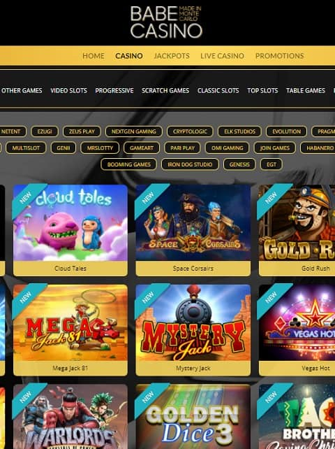 Babe Casino Online - 100 free spins and 100% welcome bonus