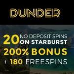 Dunder.com Casino 20 gratis spins   200% free bonus   180 free spins