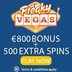 Freaky Vegas Casino 525 free spins + 200% up to €800 free bonus