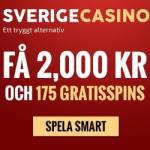 Sverige Casino 175 gratis spins   2,000 SEK free bonus for Sweden