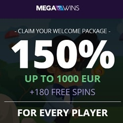 MegaWins Casino bonuses: $/€1,000 gratis and 180 free spins