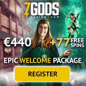 7 Gods Casino 77 free spins and €440 bonus - eur, gbp, nzd, sek, nok