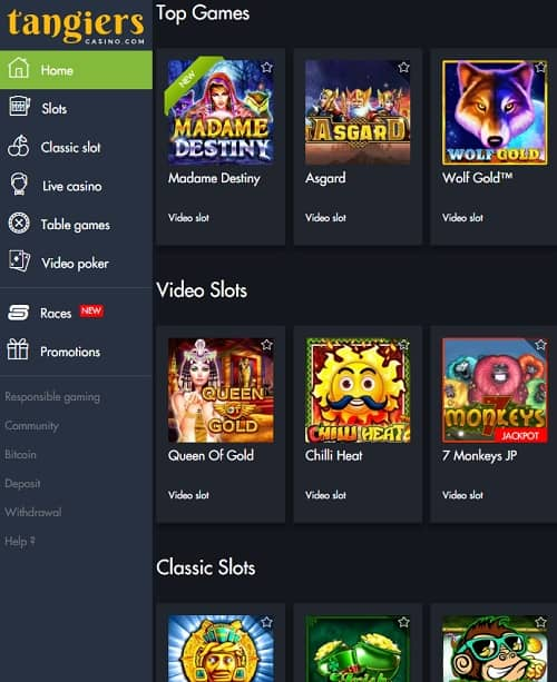 Tangiers Casino free games