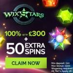 Wixstars Casino 50 free spins + 100% bonus up to 300 EUR