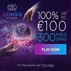 Genesis Casino [register & login] 300 free spins + €1000 bonus offer