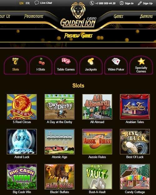 Golden Lion Casino free play bonus