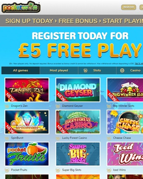 Pocket Win Casino Mobile Slots for UK