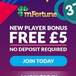 mFortune Casino (mfortune.co.uk) – £5 free bonus for mobile games
