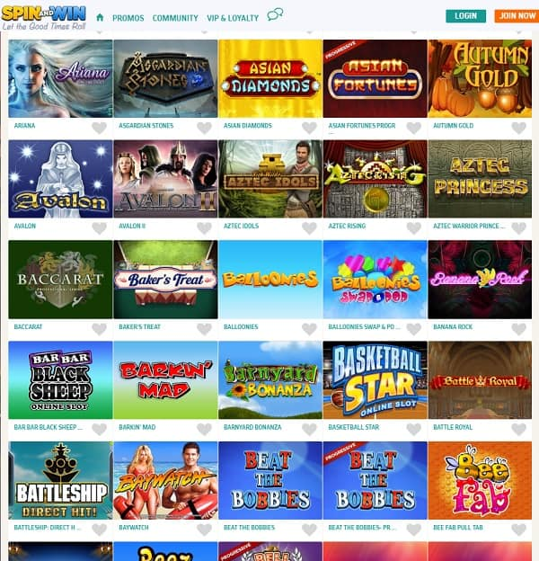 Spin and Win Casino new games